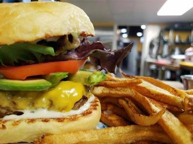 A close up of a tasty burger